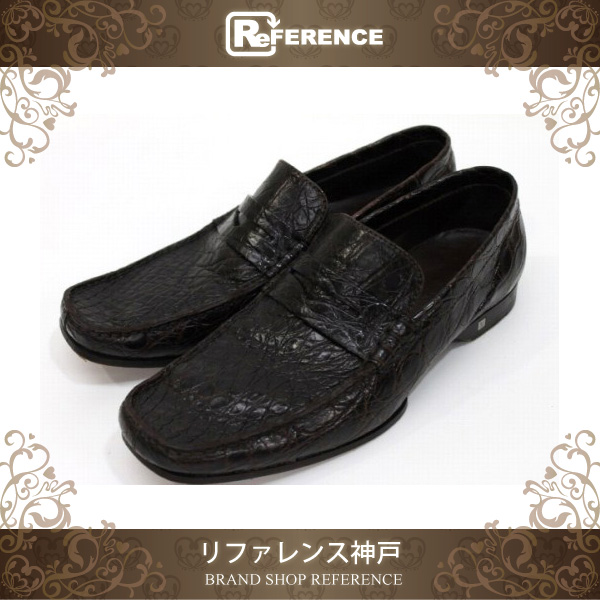 91b149fbd3a6 AUTHENTIC LOUIS VUITTON Exotic line Matt Crocodile Men s Loafer Shoes Other  Brown