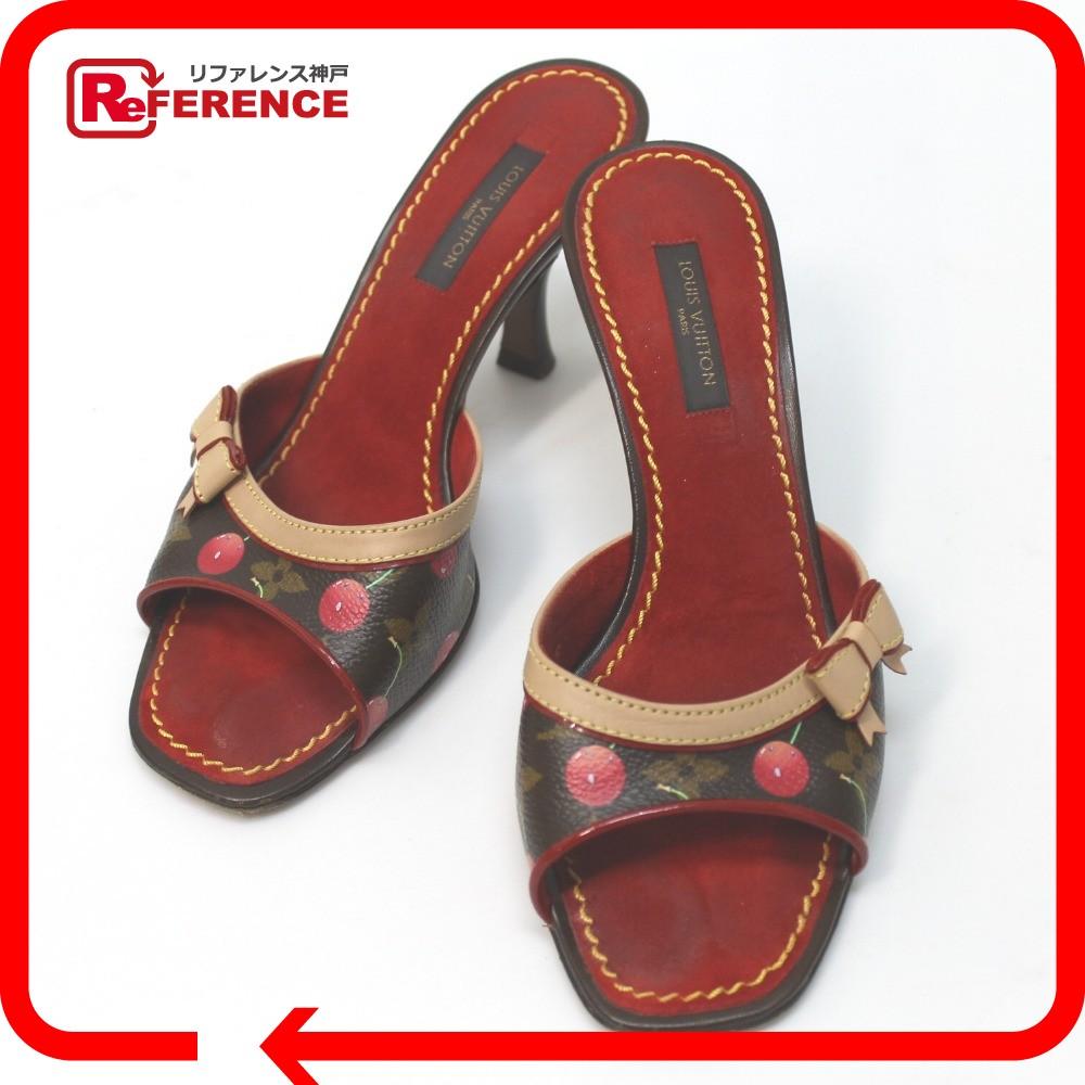 67bb5fef6ac268 ... AUTHENTIC LOUIS VUITTON Monogram Cherry ribbon Shoes sandals Mule Red  Monogram CherryCanvas 34.5 online shop e9dbe ...