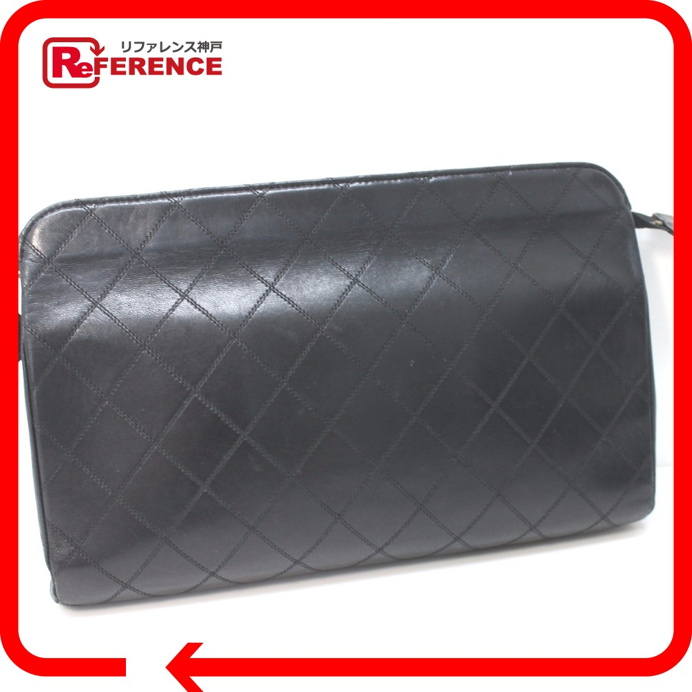56084823a1f AUTHENTIC CHANEL Bicolore Double Stitch business bag Clutch bag Black  Lambskin Leather