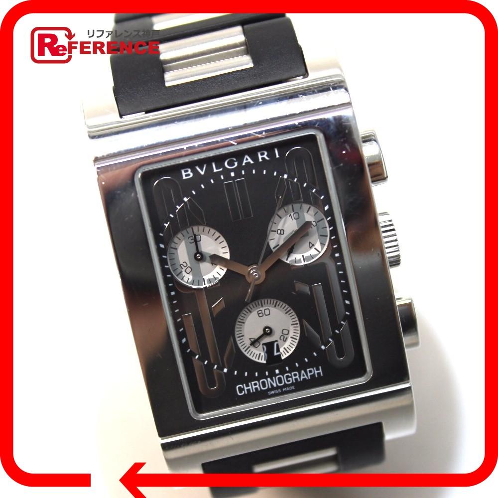 BVLGARI ブルガリ RTC49S メンズ腕時計 レッタンゴロ レッタンゴロ 腕時計 SS/ラバーベルト ブラック メンズ【中古】