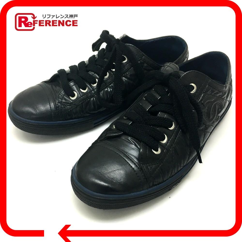 CHANEL シャネル G26563 マトラッセ シューズ 靴 CC ココマーク スニーカー レザー/ナイロン ブルー レディース【中古】