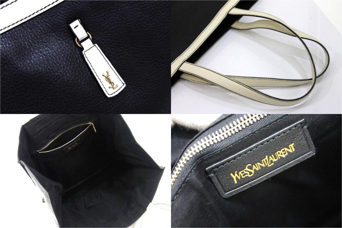 6606d5e9d4508 AUTHENTIC YVES SAINT LAURENT Women s Bag Tote Bag Black White Leather 274764