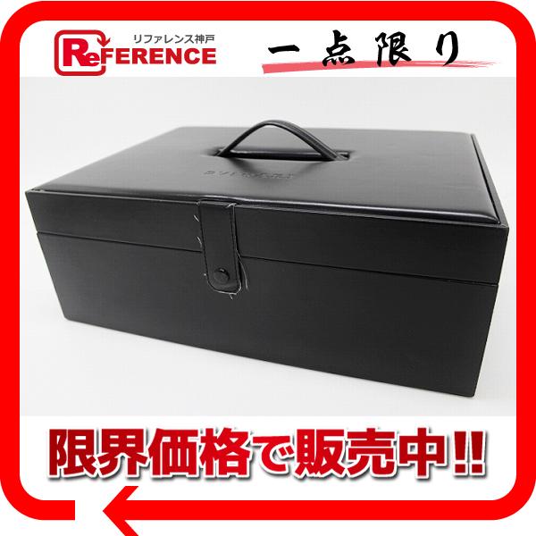 BVLGARI ブルガリ 大型コレクションボックス メンズ レディース メイクボックス ハンドバッグ レザー ブラック ユニセックス【中古】