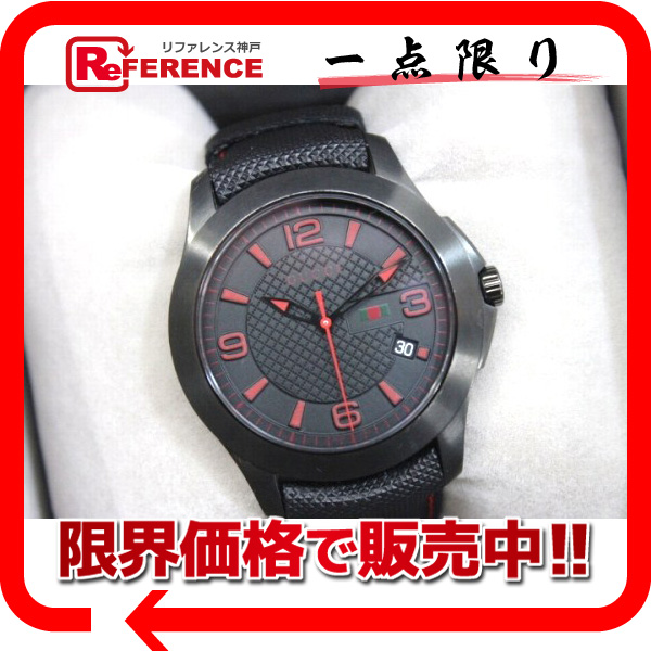 GUCCI グッチ 126.2 メンズ腕時計 クオーツ G-タイムレス 腕時計 SS/ラバーベルト ブラック メンズ【中古】