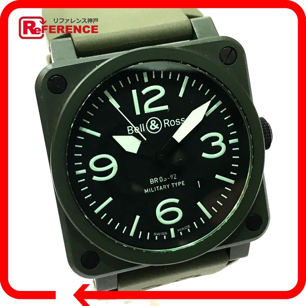 Bell&Ross ベル&ロス BR03-92-CK メンズ腕時計 ミリタリー 腕時計 セラミック/ラバーベルト グリーン メンズ【中古】