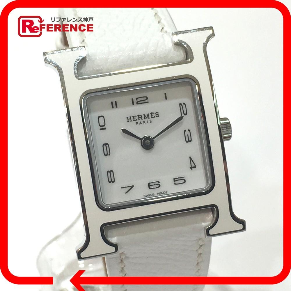 HERMES エルメス HH1.220 レディース腕時計 Hウォッチ レザーベルト 腕時計 エプソン/SS ホワイト レディース 未使用【中古】