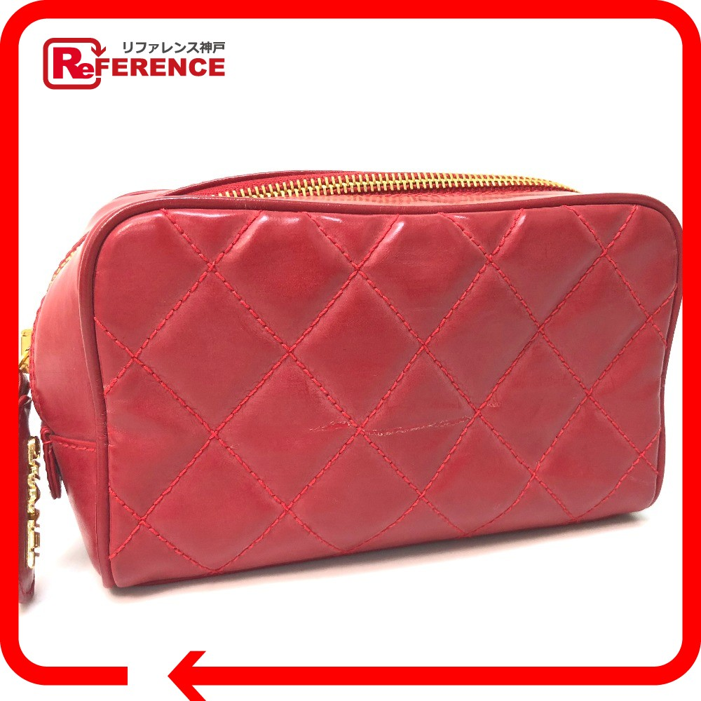 cae93b07d3234e AUTHENTIC CHANEL Quilted Makeup porch accessory Cosmetics Pouch Red rubber