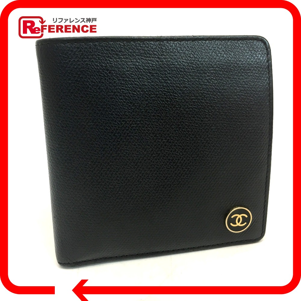 AUTHENTIC CHANEL COCO Button wallet Bifold Wallet Black Calf LeatherLeather  A20901 6770854e251