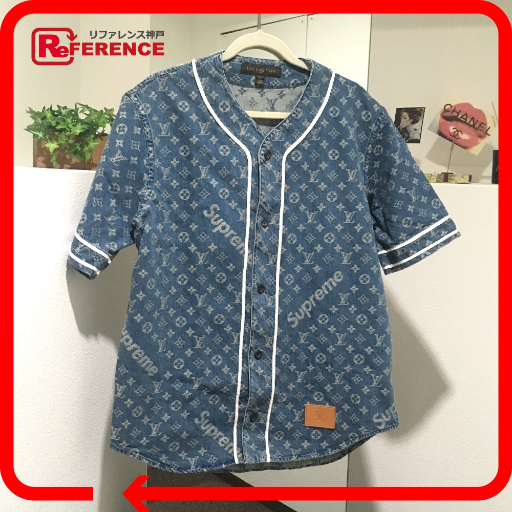 9bc56a0d623b BRANDSHOP REFERENCE  AUTHENTIC LOUIS VUITTON Monogram Supreme x Louis  Vuitton Denim baseball shirt Short sleeve shirt blue 1A3F9U