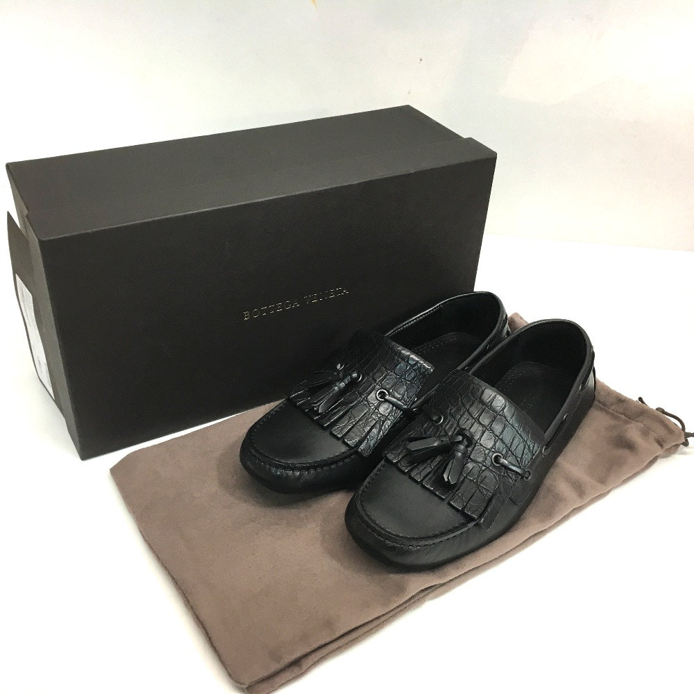 Brandshop Reference Authentic Bottega Veneta Flat Shoes Croco Flatshoes Leather Loafers Black Crocodile 428434