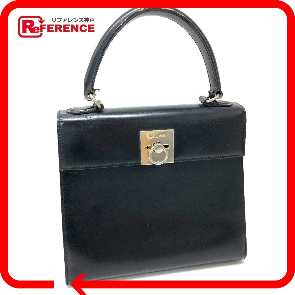 Celine Tote Bag Vintage Handbag Calf Leather Black Lady S