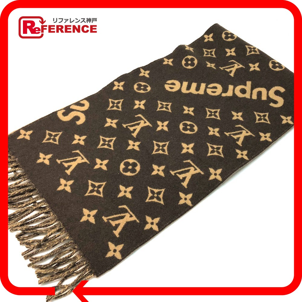 AUTHENTIC LOUIS VUITTON Unused 17aw Supreme Louis Vuitton Monogram Scarf X Mens Womens Brown Wool Cashmere MP1891