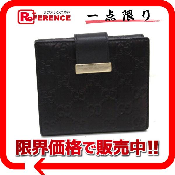 GUCCI グッチ 212090 アイコンバー ICON BAR グッチシマ 二つ折り財布(小銭入れあり) レザー ブラック メンズ【中古】