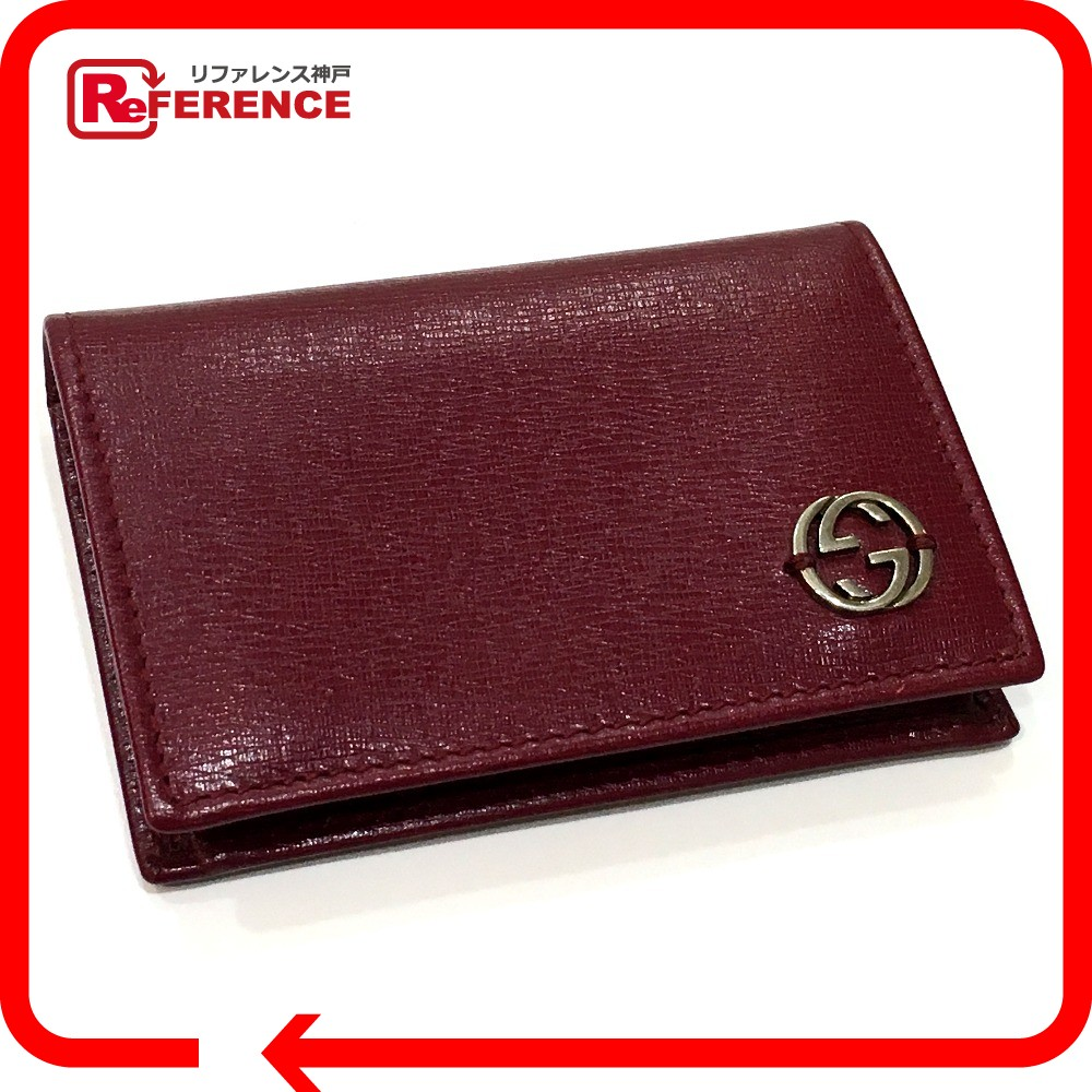 Brandshop reference rakuten global market authentic gucci authentic gucci interlocking business card holder pass case bifoldcard case card case bordeaux leather 310598 colourmoves