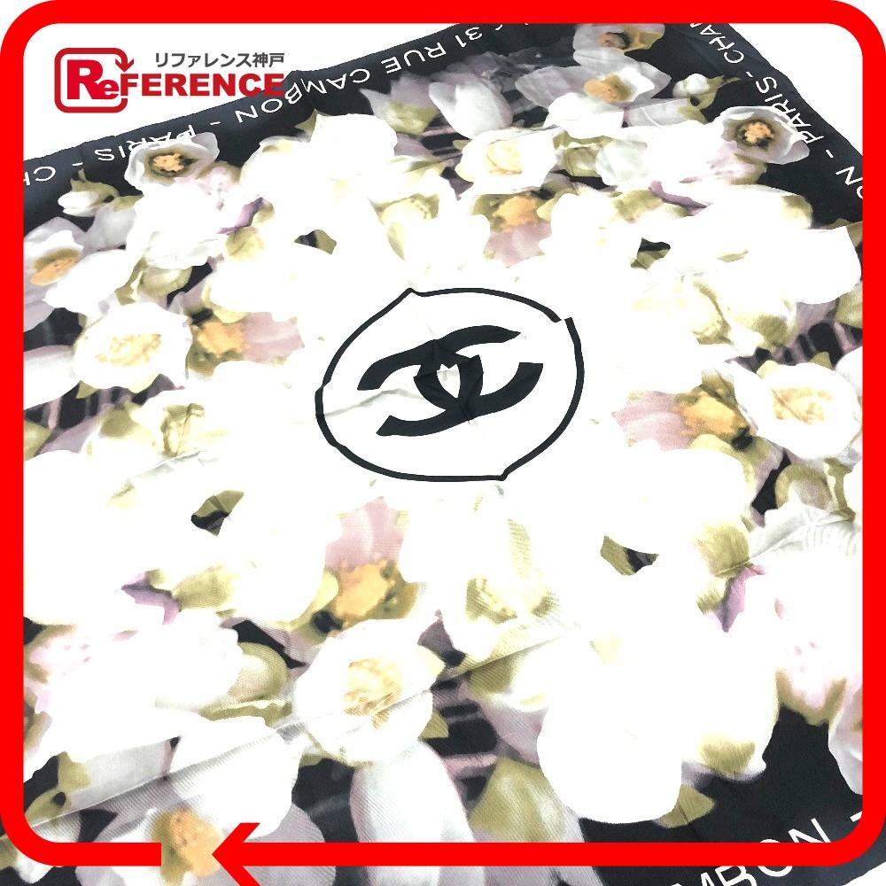 CHANEL シャネル フラワー 花柄 ロゴ スカーフ シルク ブラック レディース【中古】
