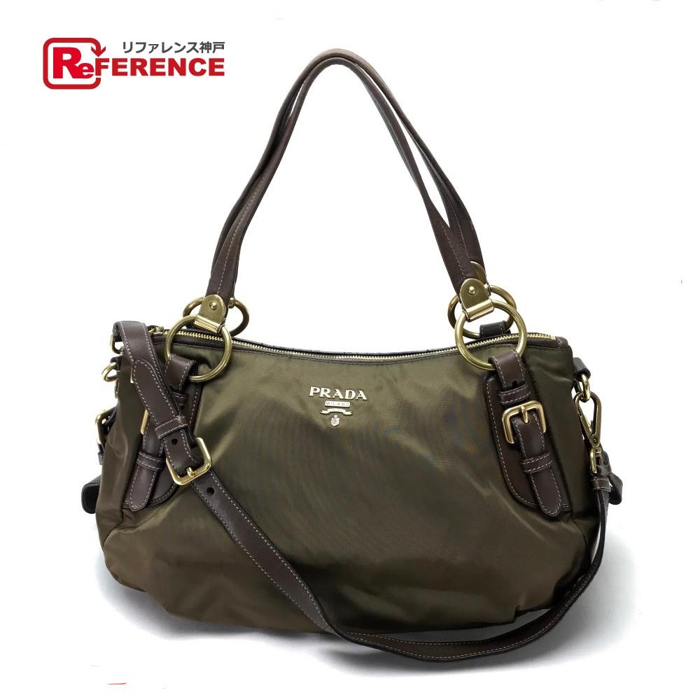 19af1dc8ec58 PRADA Prada BR4261 ハンドバッグショルダーバッグテスート + ナッパ shawl tote bag 2way bag nylon x  ...