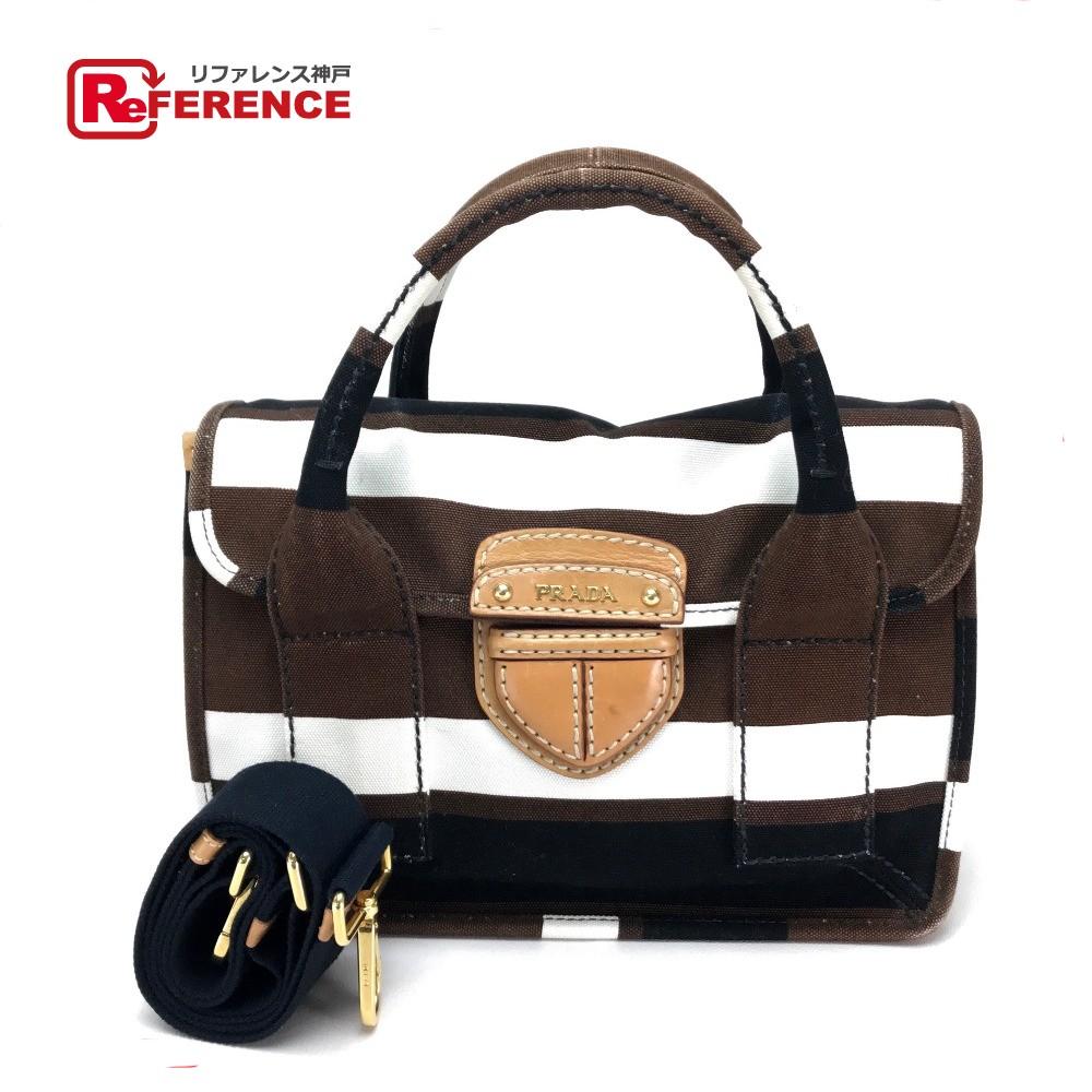 PRADA プラダ BN2117 ハンドバッグ ショルダーバッグ 肩掛け 手持ち トートバッグ ボーダー 2wayバッグ キャンバス×レザー ブラウン レディース【中古】