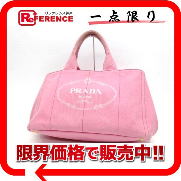 PRADA プラダ B1872B ハンドバッグ CANAPA カナパ トートバッグ コットンキャンバス ピンク レディース【中古】