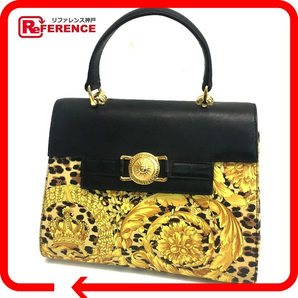 1c20c1b5e55e ... Leopard Hand Bag BlackGoldHardware PVC x Leather new arrival 840cc  GIANNI  VERSACE Leopard Shoulder Tote Bag Black Yellow PVC Leather Auth J209 M ...