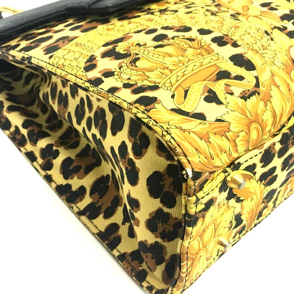 bdc829038ed9 ... AUTHENTIC Gianni Versace Sunburst Flower pattern Leopard Hand Bag  BlackGoldHardware PVC x Leather new arrival 840cc ...