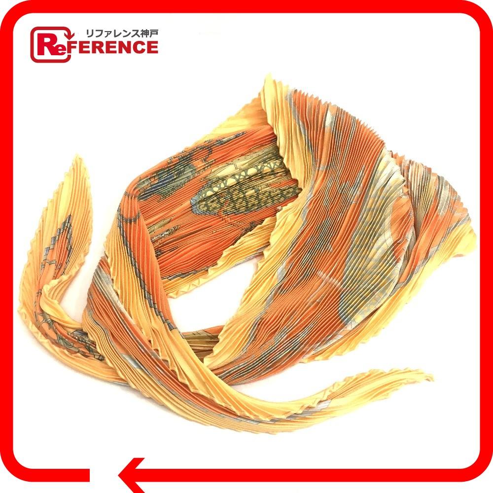 HERM・・S エルメス カレプリセ プリーツ LES VOITURES A TRANSFORMATION (折りたたみ式幌の馬車) スカーフ シルク オレンジ レディース【中古】