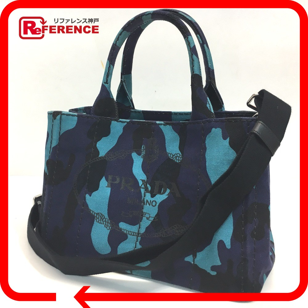 0d5feec23d7 ... low cost authentic prada camouflage camouflage canapa 2 way shoulder bag  tote bag blue black campus