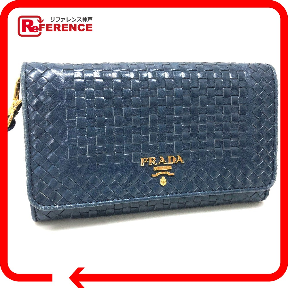 PRADA プラダ 1M1438 2つ折り長財布 編み込み ストラップ付 長財布(小銭入れあり) レザー ブルー レディース【中古】
