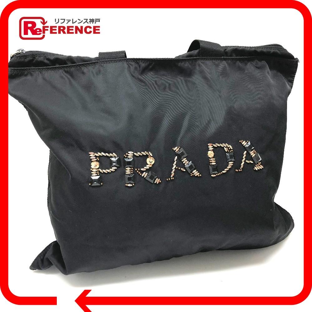 PRADA プラダ メンズ レディース トートバッグ ビジューロゴマーク ショルダーバッグ ナイロン/ ブラック レディース【中古】