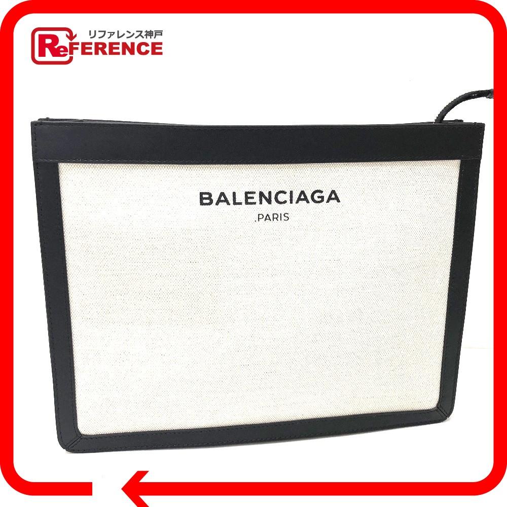 BALENCIAGA バレンシアガ 410119 ハンドバッグ クラッチバッグ キャンバス×レザー ナチュラル レディース【中古】