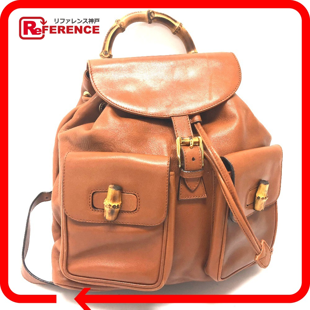 GUCCI Gucci rucksack backpack old Gucci rucksack day pack leather brown  Lady s 864528f6d8