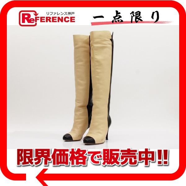 CHANEL シャネル ロングブーツ バイカラー CC ココ ブーツ レザー ブラック レディース【中古】