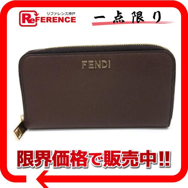 FENDI フェンディ 8M0024 ラウンドファスナー長財布 レザー 長財布(小銭入れあり) レザー ブラウン レディース【中古】