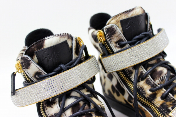 37ed2703a0906 AUTHENTIC GIUSEPPE ZANOTTI Leopard Ha Ikat sneakers Brown series/Black  Harako x Leather 32.
