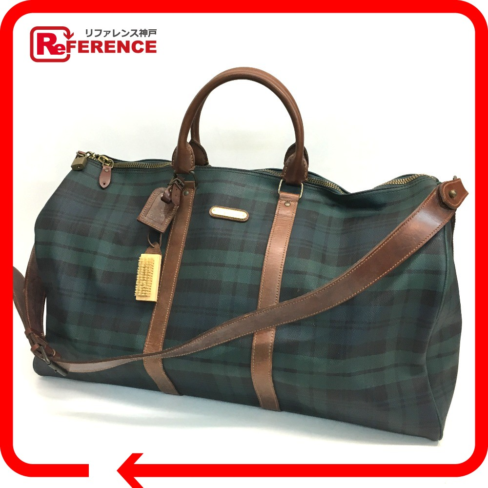 BRANDSHOP REFERENCE  AUTHENTIC POLO RALPH LAUREN Logo Plate Check pattern  Shoulder Duffle Bag 2way bag Green series Brown Leather PVC   Rakuten  Global ... 22b8df4f06