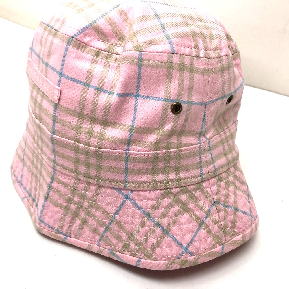 BURBERRY Burberry hat hat checked pattern hat canvas pink system Lady s 1ab519d0484
