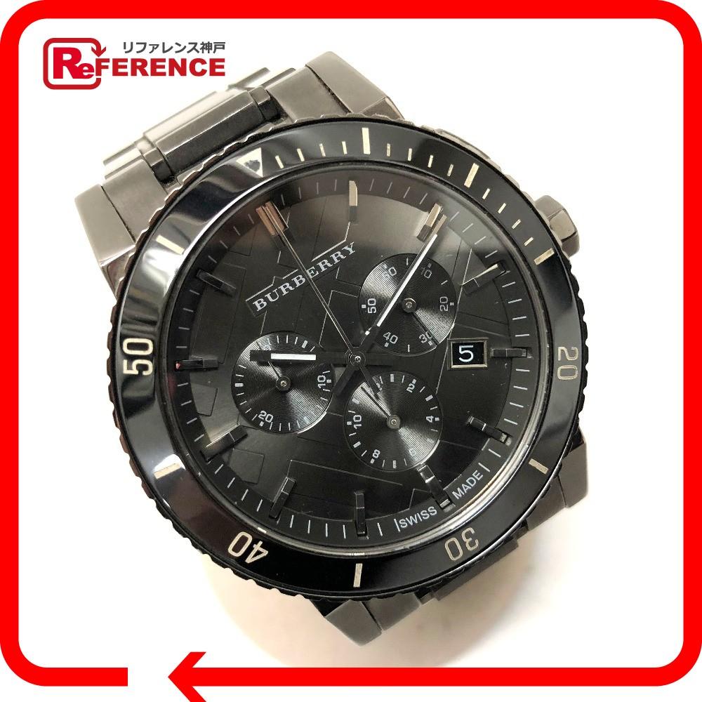 BURBERRY バーバリー BU9381 メンズ腕時計 クロノグラフ デイト 腕時計//SS ブラック メンズ【中古】