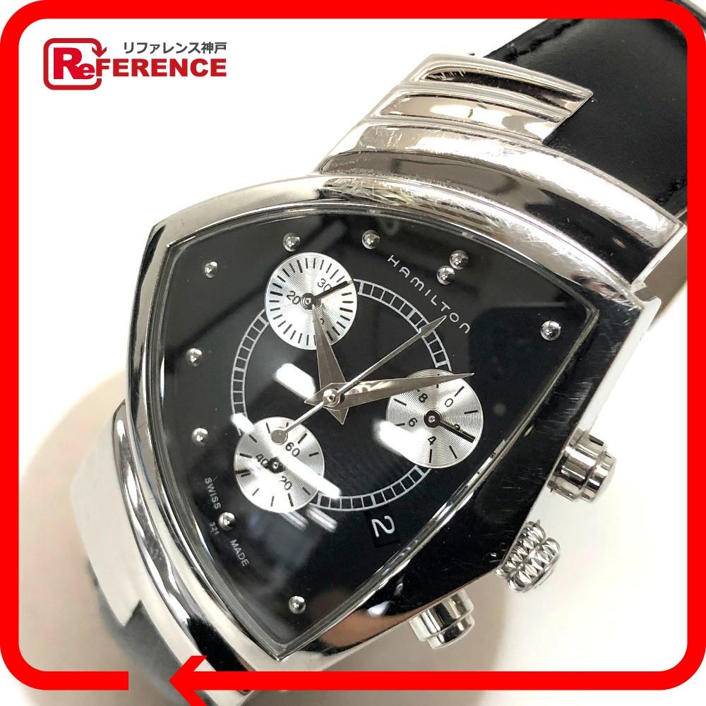 HAMILTON ハミルトン H24412732 ベンチュラ クロノ クロノグラフ 腕時計 SS×レザー/ シルバー メンズ【中古】