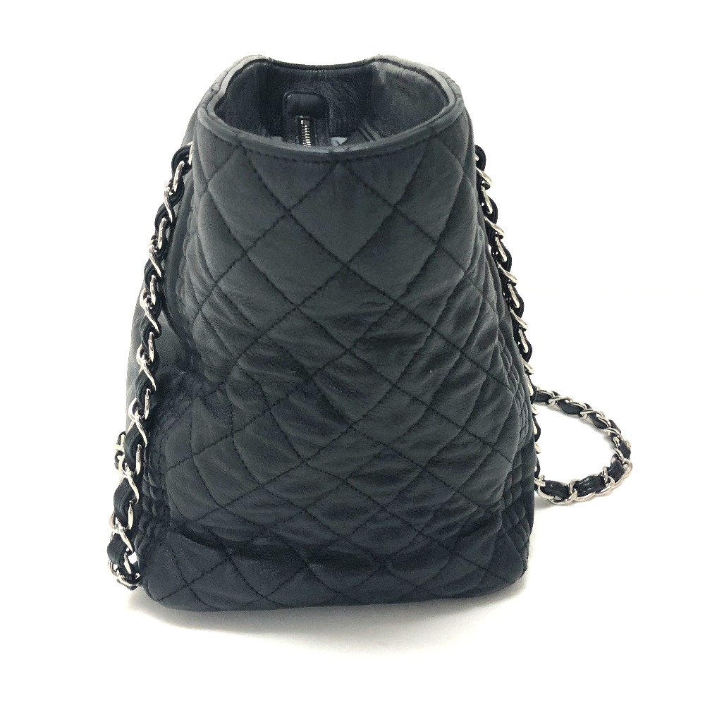 47af4a8f7d19 AUTHENTIC CHANEL Check pattern CC CC Mark Quilted Tote Bag Chain Bag  Shoulder Bag Black Leather