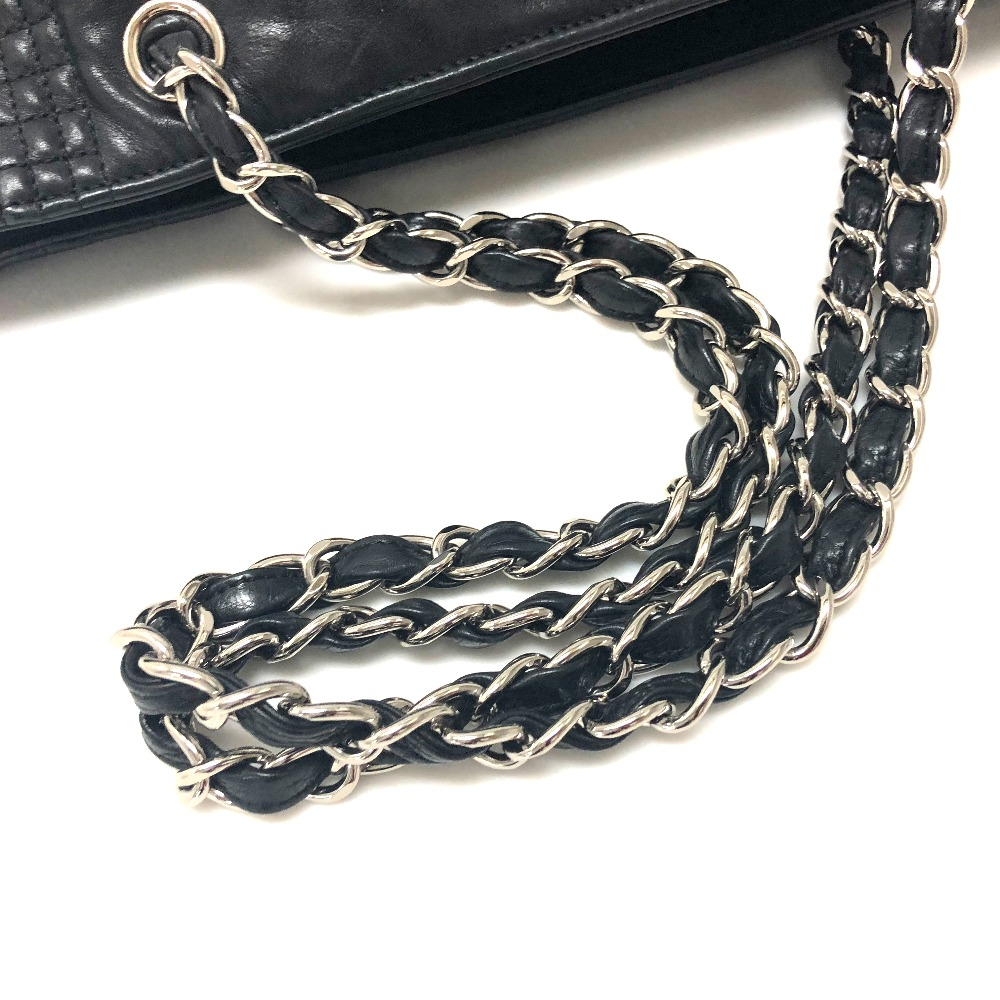 5c109780b0fd64 ... AUTHENTIC CHANEL Check pattern CC CC Mark Quilted Tote Bag Chain Bag  Shoulder Bag Black Leather