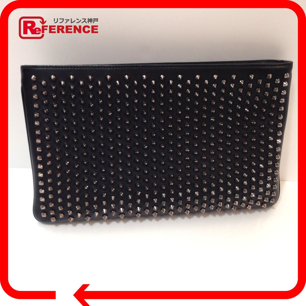 Authentic Louboutin Clutch Bag Rubiposh Spiked Studs 2 Way Chainshoulder Shoulder Black Leather 1165013