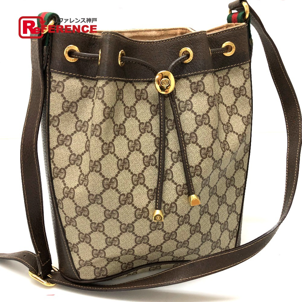 4196428409ef ... Shoulder Pvc X Leather Beige Lady S. Brand Reference Gucci Old  Drawstring Purse Bag Gg
