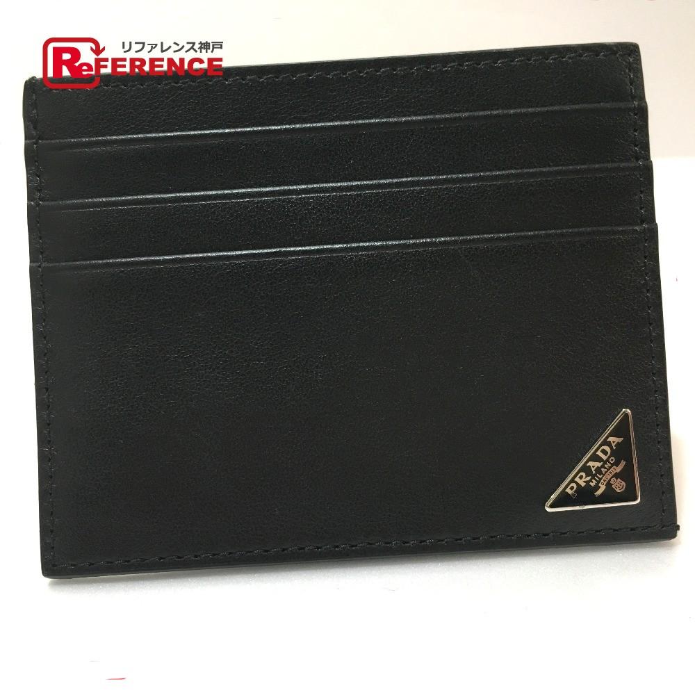 PRADA プラダ 2MC223 メンズ レディース 名刺入れ ロゴプレート カードケース レザー ブラック ユニセックス 未使用【中古】