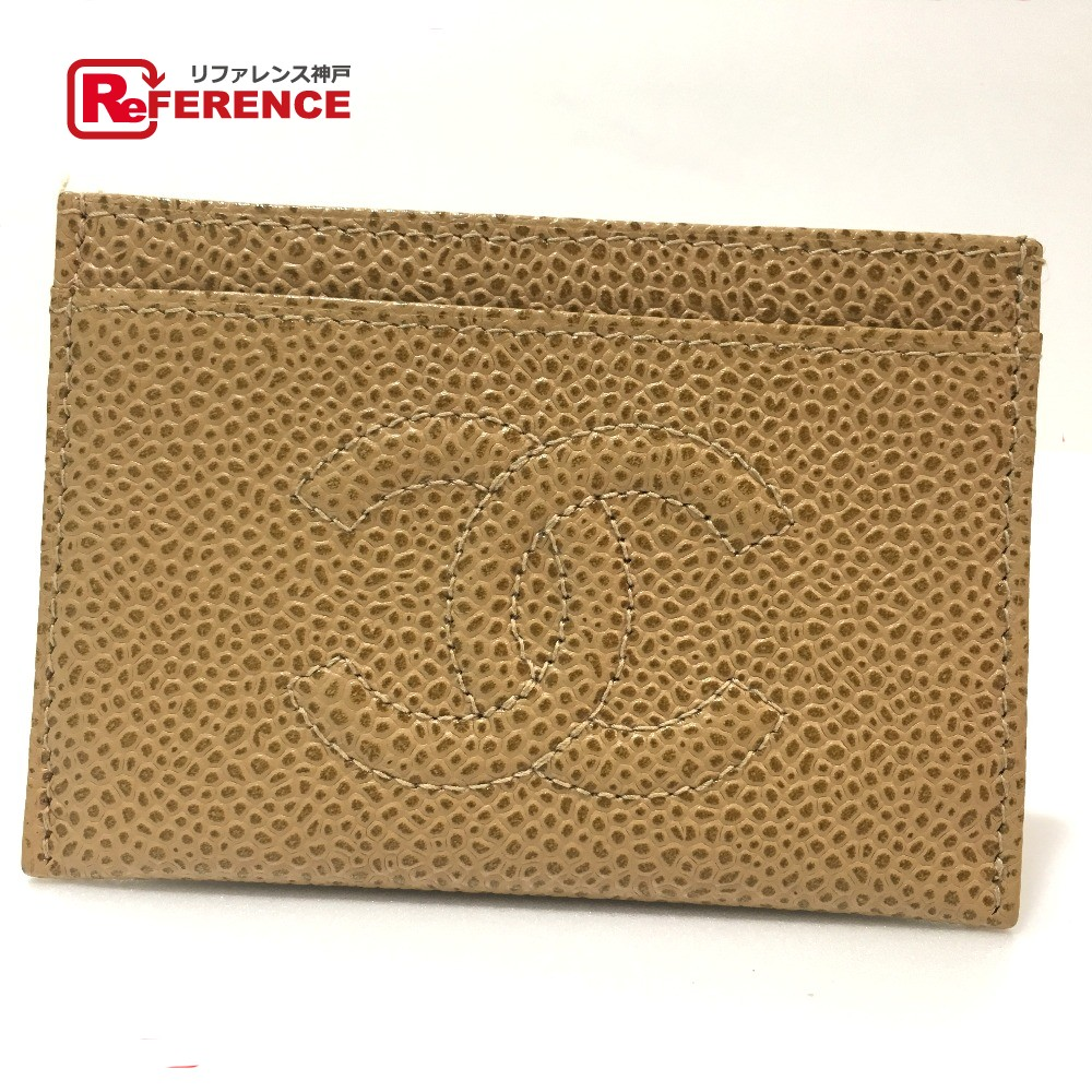 4610fa2cb6f7c6 AUTHENTIC CHANEL CC CC Mark business card holder Card Case Beige Caviar  Leather