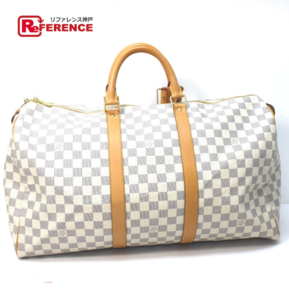 a8f8d5fc7f5b BRANDSHOP REFERENCE  AUTHENTIC LOUIS VUITTON Damier Azur Keepall 50 Hand Bag  Travel Bag Duffle Bag White DamierAzurCanvas N41430