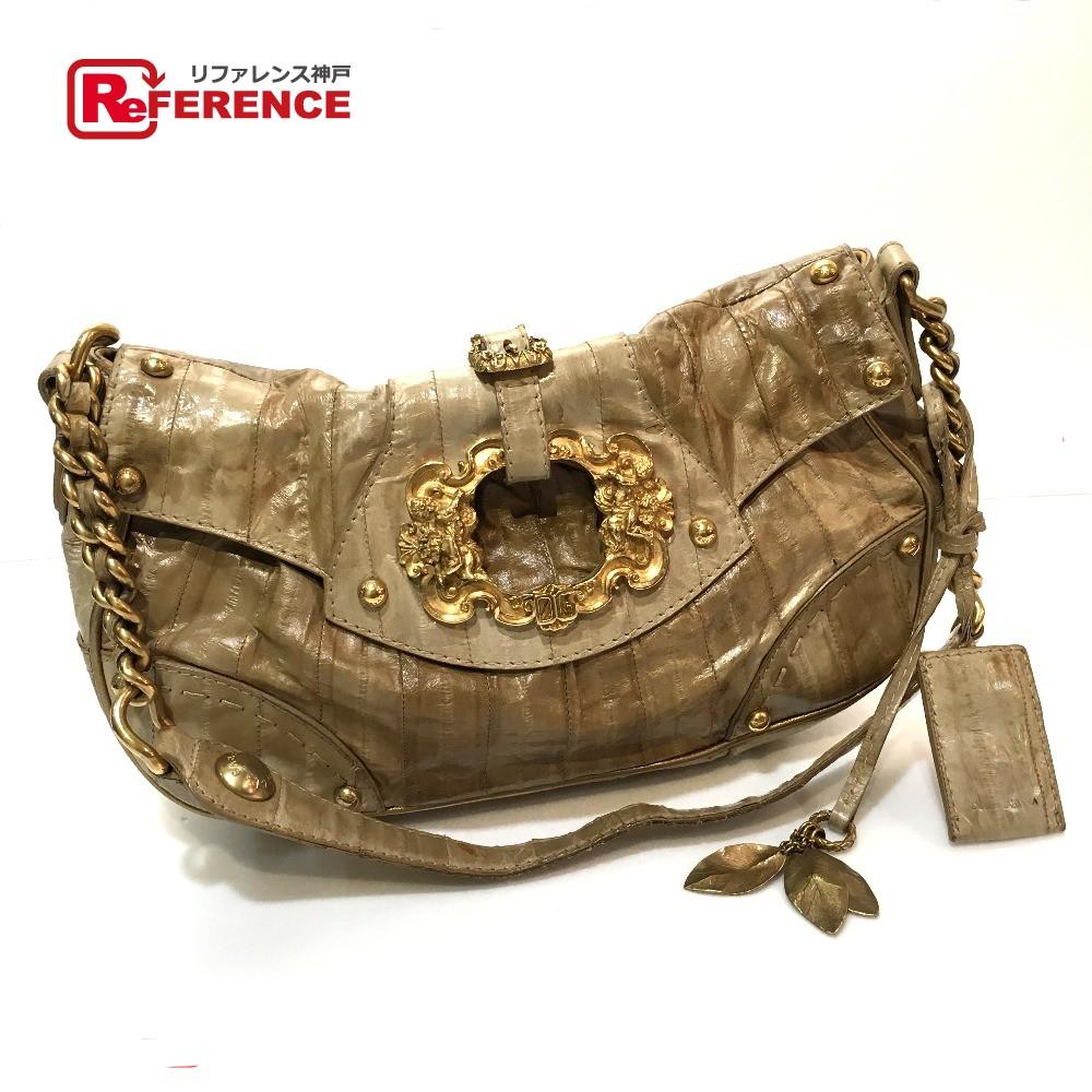 31e1ab158d2667 DOLCE&GABBANA dolce and Gabbana vintage chain shoulder sculpture leaf  metal fittings shoulder bag leather ...