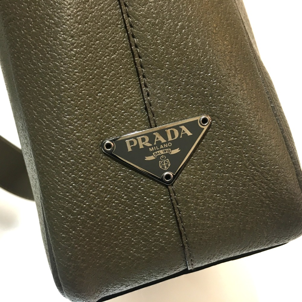 49c2d181d173 PRADA Prada VA0012 messenger bag logo plate shoulder bag leather light  brown system men
