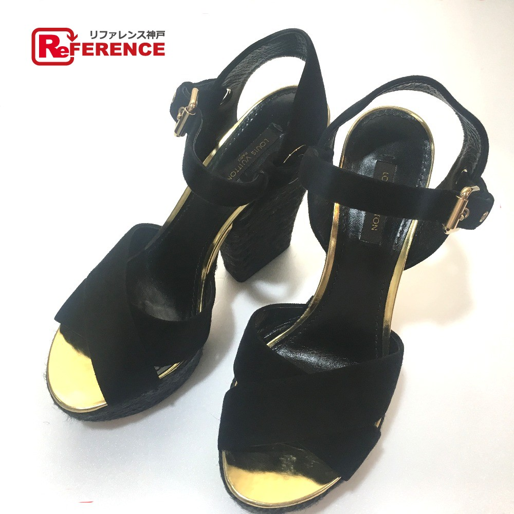 9bdcca67b40 AUTHENTIC LOUIS VUITTON High heels Plat Layout shoes Sandals Black Gold  suede 35 1 2