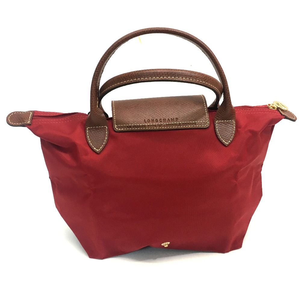9a65b47ec014 AUTHENTIC Longchamp Unused Men s Women s Folding type Hand Bag Tote Bag Red  Nylon Leather 1621-089-545