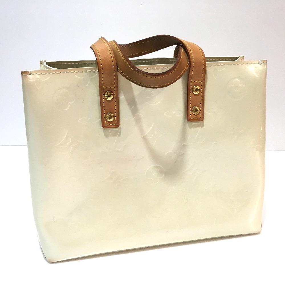 2cc7f5cb90 ... AUTHENTIC LOUIS VUITTON Monogram-Vernis Lead PM Hand Bag Tote Bag White  Patent Leather M91336 ...