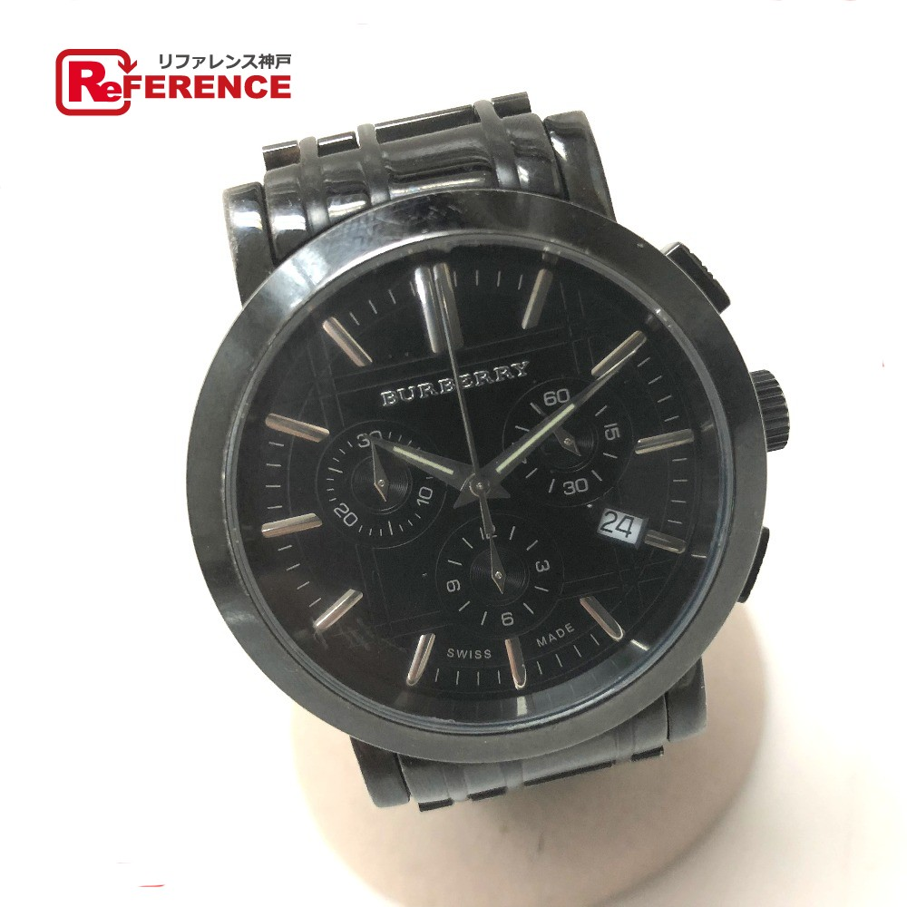 BURBERRY バーバリー BU1373 ヘリテージ クロノグラフ 腕時計 SS/ ブラック メンズ【中古】